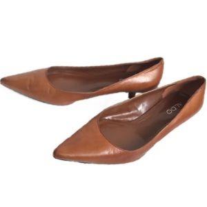 Aldo Brown Leather Pointed Toe Kitten Pump Heels